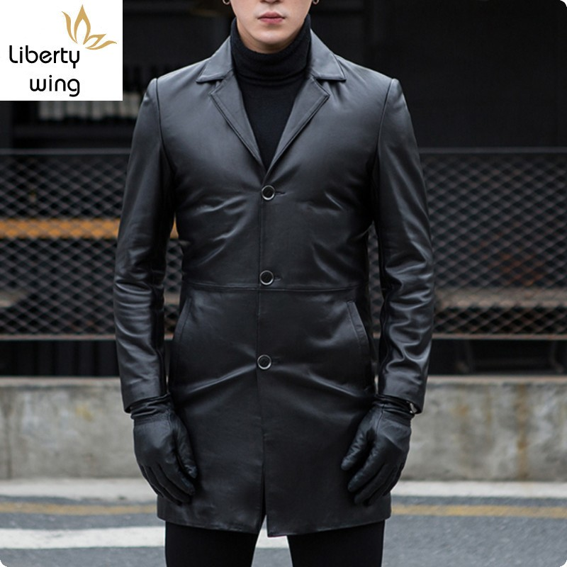 Autumn New Arrival Mens Sheepskin Genium Leather Jackets Slim Fit Male Long Coat Jaqueta De Couro Masculino Genuino Solid