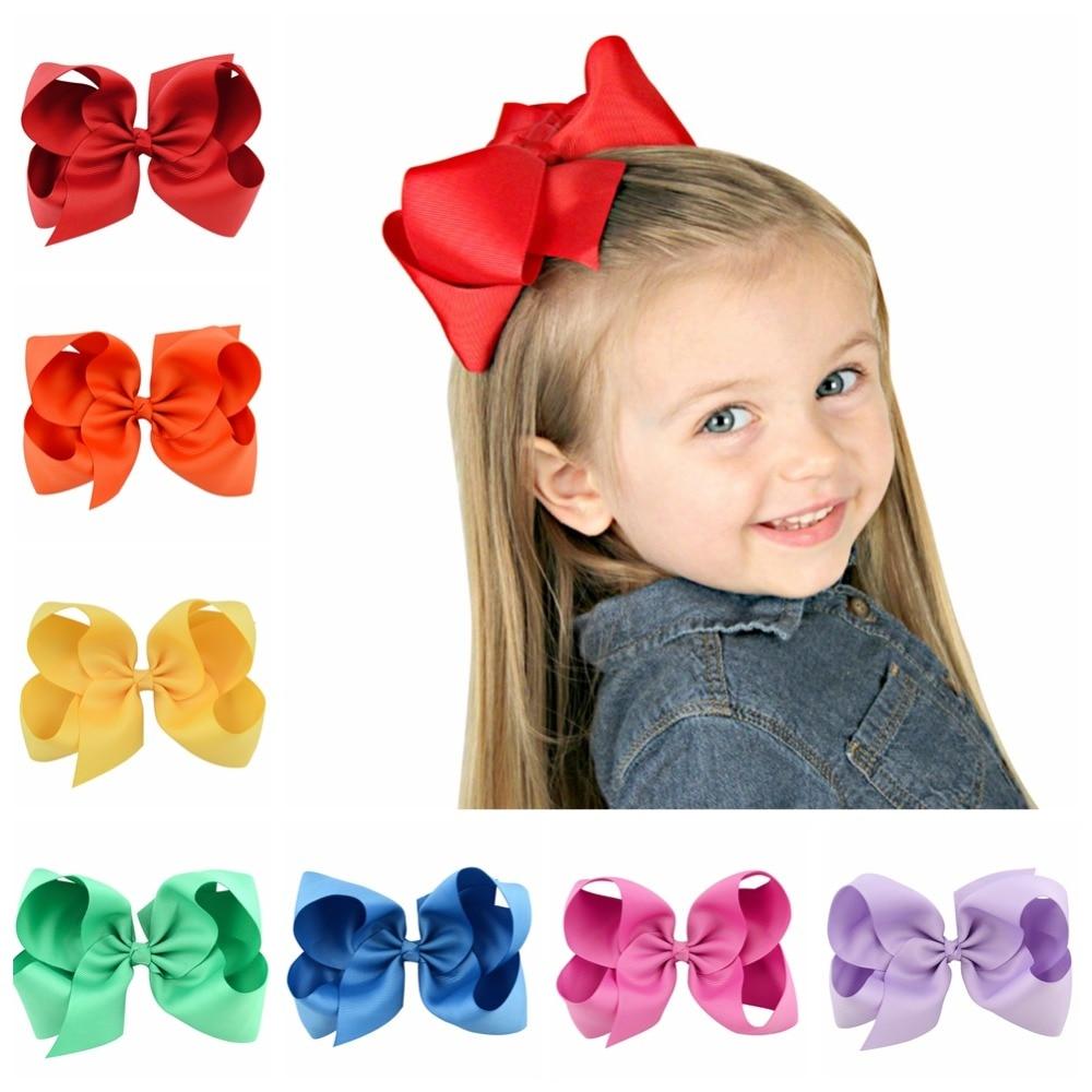 Hair-Bows Ribbon Headwear Clips Hair-Accessories Grosgrain Girls Kids 6inch Solid Big