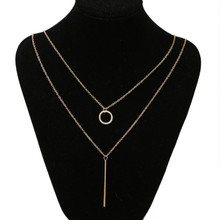 EDS Women Long Necklace Gold Pendant Necklace Layered Geometric Necklace Fashion Chain Necklace Korean Women Jewelry