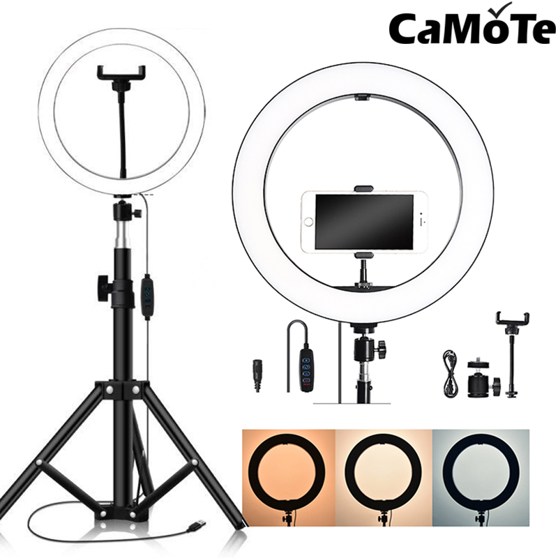Selfie lamp light for smartphone Live Streaming tripod led beads camera phone stand 160cm 210cm Beauty  Makeup Ring Light 8-10inc