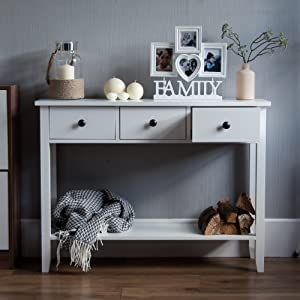 Whtie Console Table Living Room Hall Way Telephone Table Stylish Modern Three Drawer Shelf Bottom