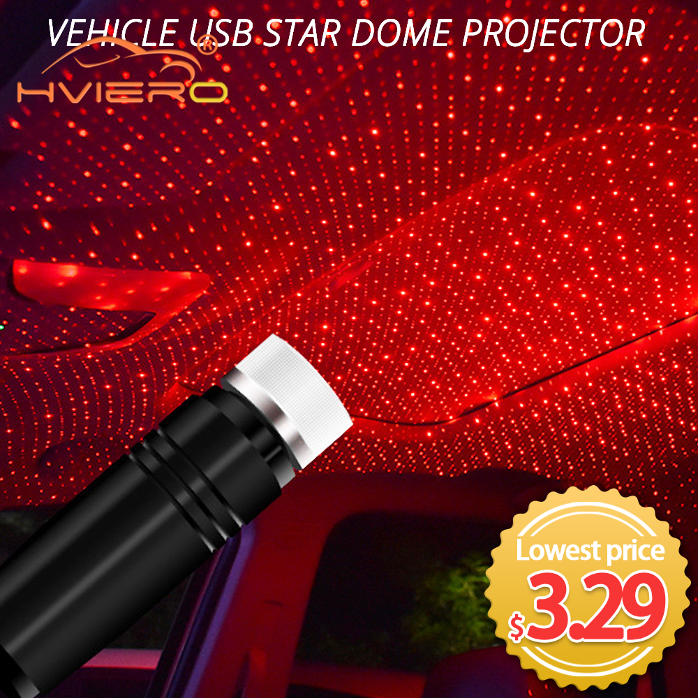Car Convenient Usb Star Ceiling Light Laser Projection Decorative Light Car Led Atmosphere Roof Full Of Stars Interior Room Home