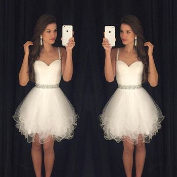 White Sweetheart Short Prom Dresses Spaghetti Straps Ruffles Beaded Graduation Evening Party Gowns