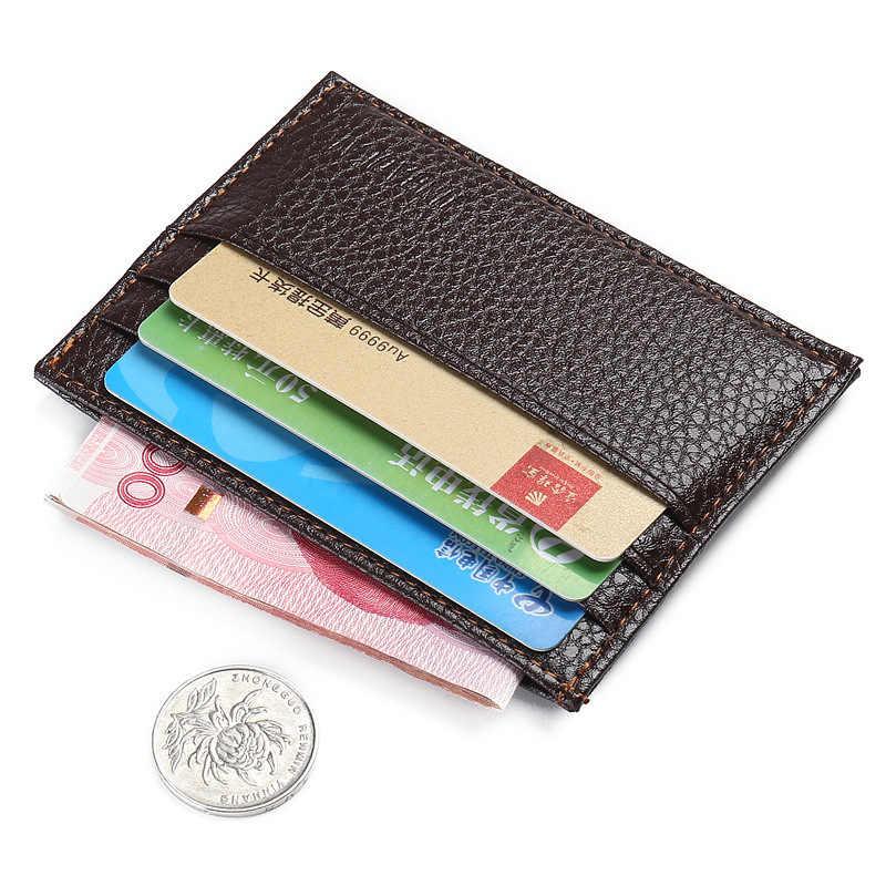 Tarjetero de cuero PU para hombre, cartera Vintage de moda, textura Retro, Mini ID, tarjetero negro