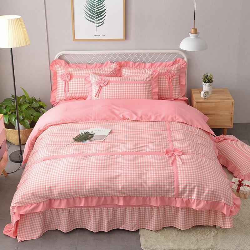 (Send Pillow )! Korean-style Knitted Cotton Bow Four-piece Set Princess Style Fresh GIRL'S Skin