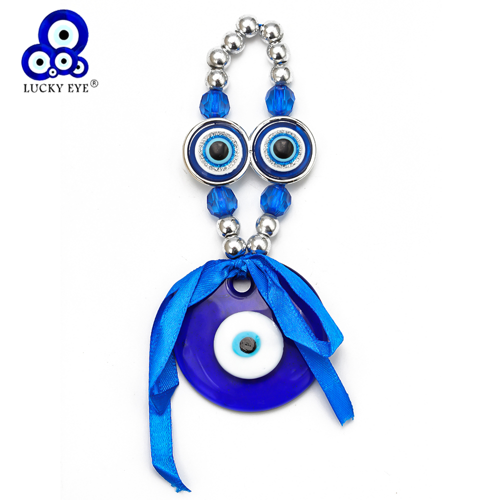 Lucky Eye Blue Evil Eye Pendant Keychain Silver Color Ring Car Keyring Key Chain Wall Hanging Jewelry Gifts For Women Men EY6598