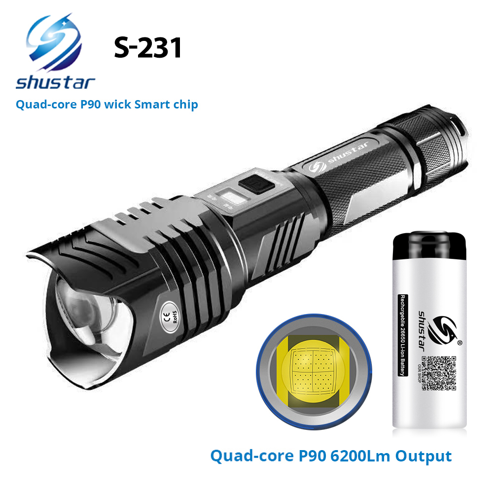 Quad-core XHP90 Super Bright LED Flashlight With Smart Chip Waterproof With Bottom Outdoor Safety Hammer By 26650 Battery