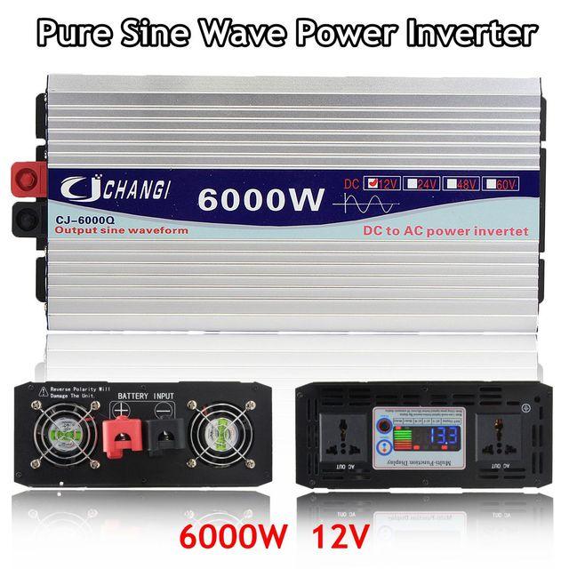 מהפך 12V 220V 3000W/4000W/5000W/6000W אינטליגנטי מתח שנאי טהור סינוס גל שמש כוח מהפך 12V/24V כדי 220V