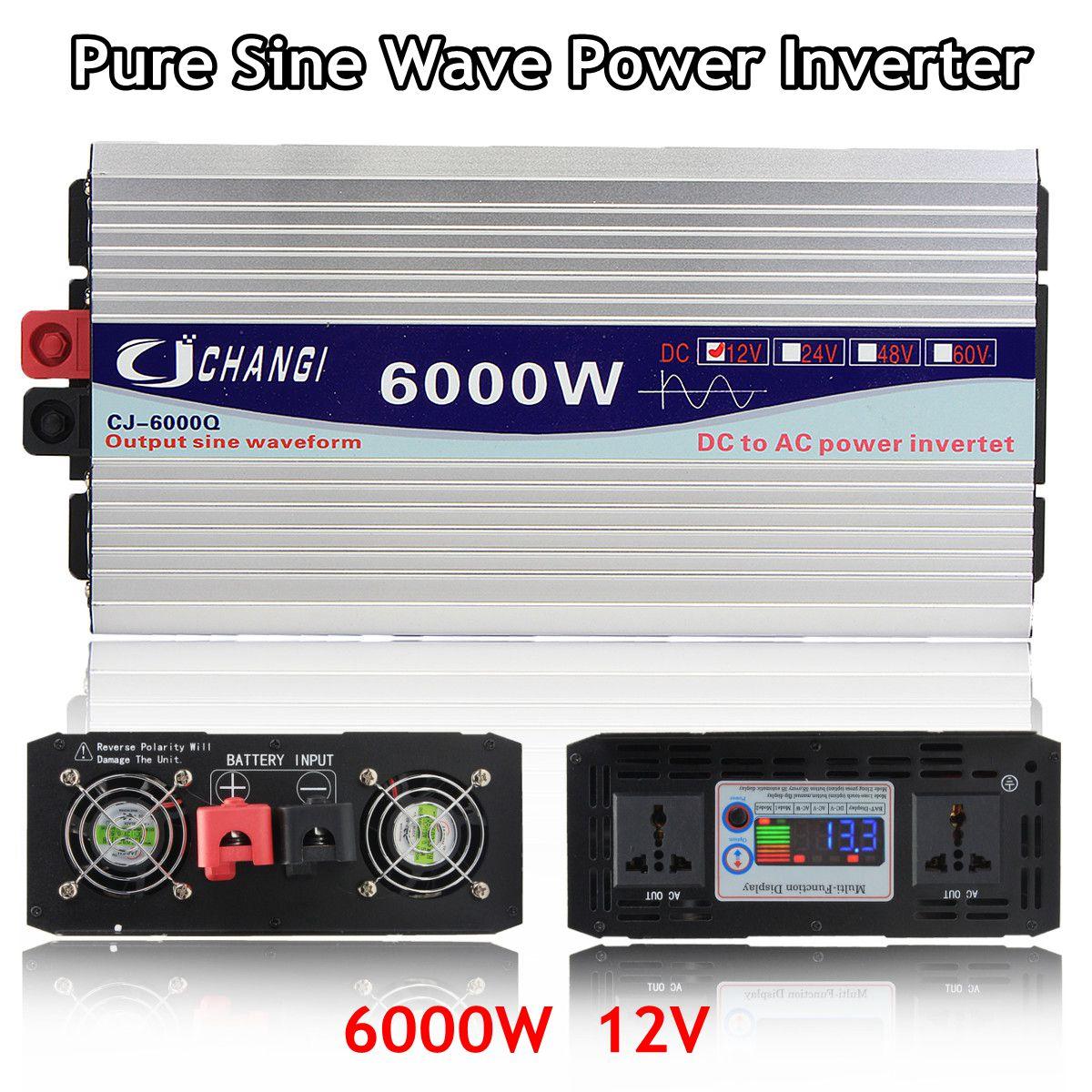 Onduleur 12V 220V 3000W/4000W/5000W/6000W transformateur de tension Intelligent onduleur à onde sinusoïdale Pure 12V/24V à 220V