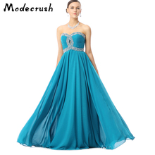 Modecrush Elengant Women A-Line Floor-Length Blue Lace Prom Dress 2019 Beading Sweep Train Tulle Sexy Sleeveless Mesh Dresses