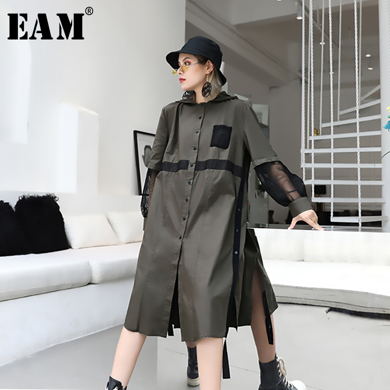 [EAM] Women Mesh Spliced Hollow Out Trench New Hooded Long Sleeve Loose Fit Windbreaker Fashion Tide Autumn Winter 2019 1A596