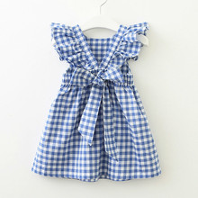 Girls Dresses Autumn Fashion Style Girls Clothes Cute Sailboat Print Ribbon Bow Kids Dress Clothes Dress for 2-7Y 40 недорого