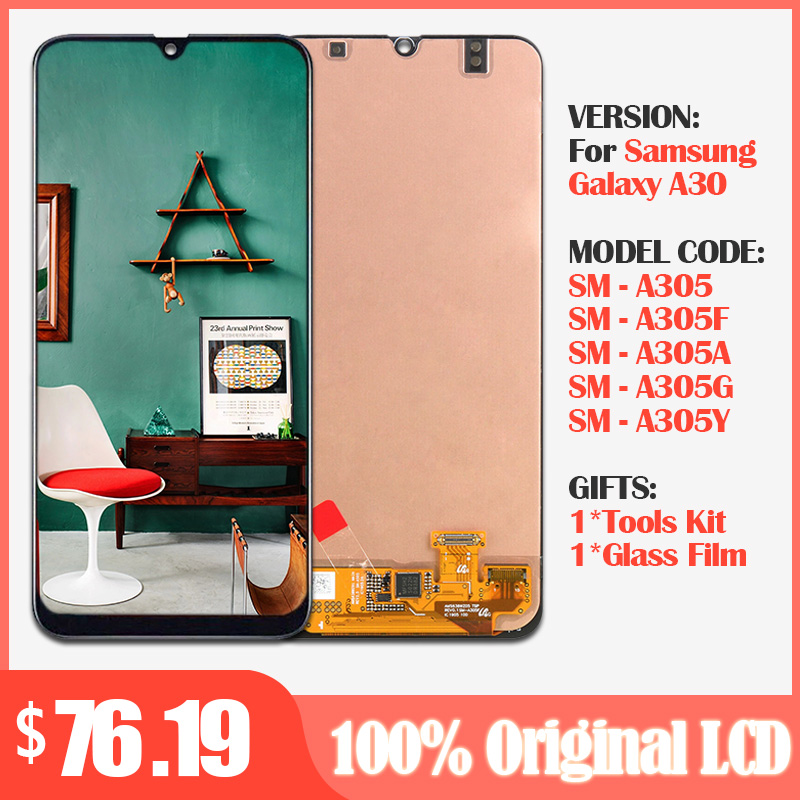 Original Screen For <font><b>Samsung</b></font> galaxy <font><b>A30</b></font> A305/DS A305F A305FD A305A Display +Touch Screen Digitizer Assembly For <font><b>Samsung</b></font> <font><b>A30</b></font> <font><b>lcd</b></font> image
