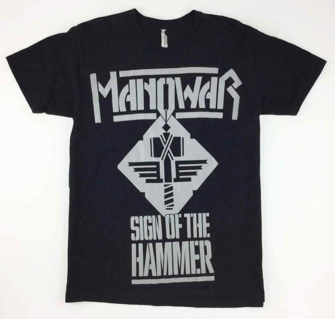 Manowar Sign of the Hammer Be My Guide Large Shirt On Sale New Fashion Summer