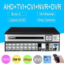 5mp AHD Caméra panneau Argenté 5MP-N Hi3521D XMeye 16CH 16 Canaux 6 en 1 H265 + Audio Coaxial Hybride XVI NVR TVI CVI CCTV AHD DVR