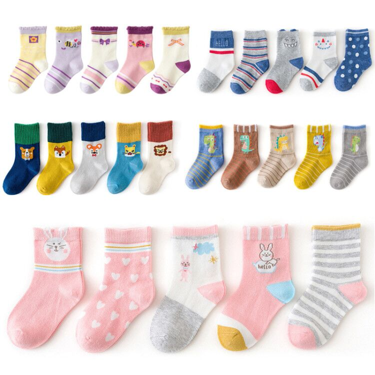 5 Pairs/lot 1 to 12 Years Autumn Winter Beautiful Socks For Toddlers Girls Cute Animal Socks For Boys Cotton Kids Socks 2020 New