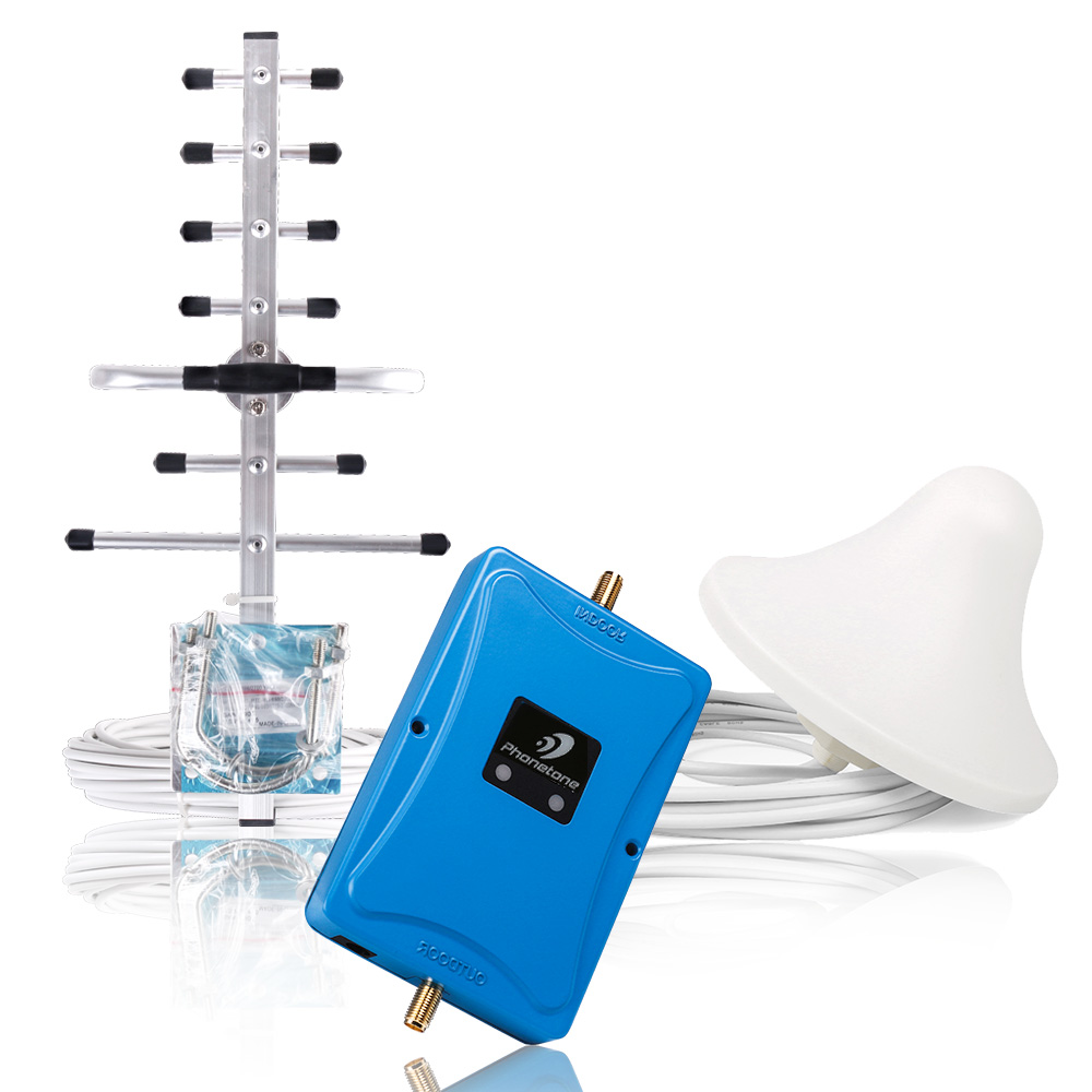 ALC CDMA 850 DCS 1800 Mhz Dual Band Repeater GSM 2G 3G 4G LTE Phone Amplifier 70dB Cellular Mobile Booster +Yagi/Ceiling Antenna