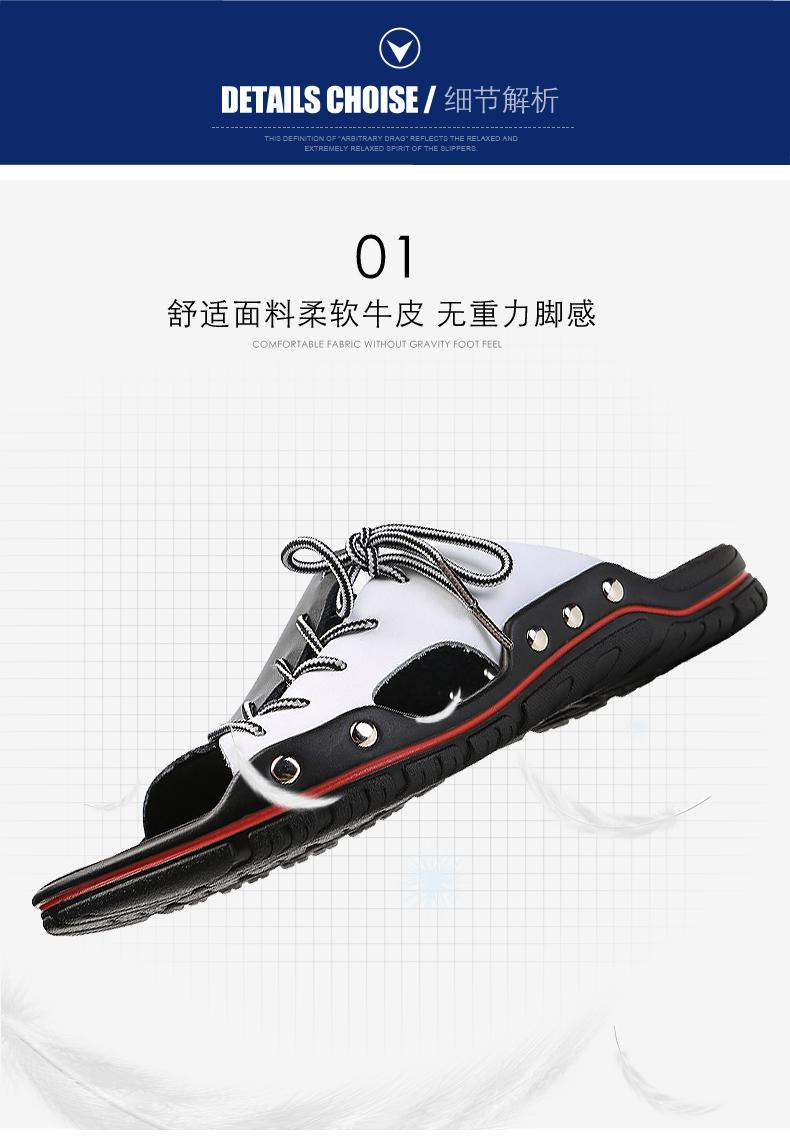 XIMISEN Plus Size Genuine Leather Sandals 2020 Outdoor Slippers Summer Anti-slippery Casual Flip Flops Beach Male Men  Sandals