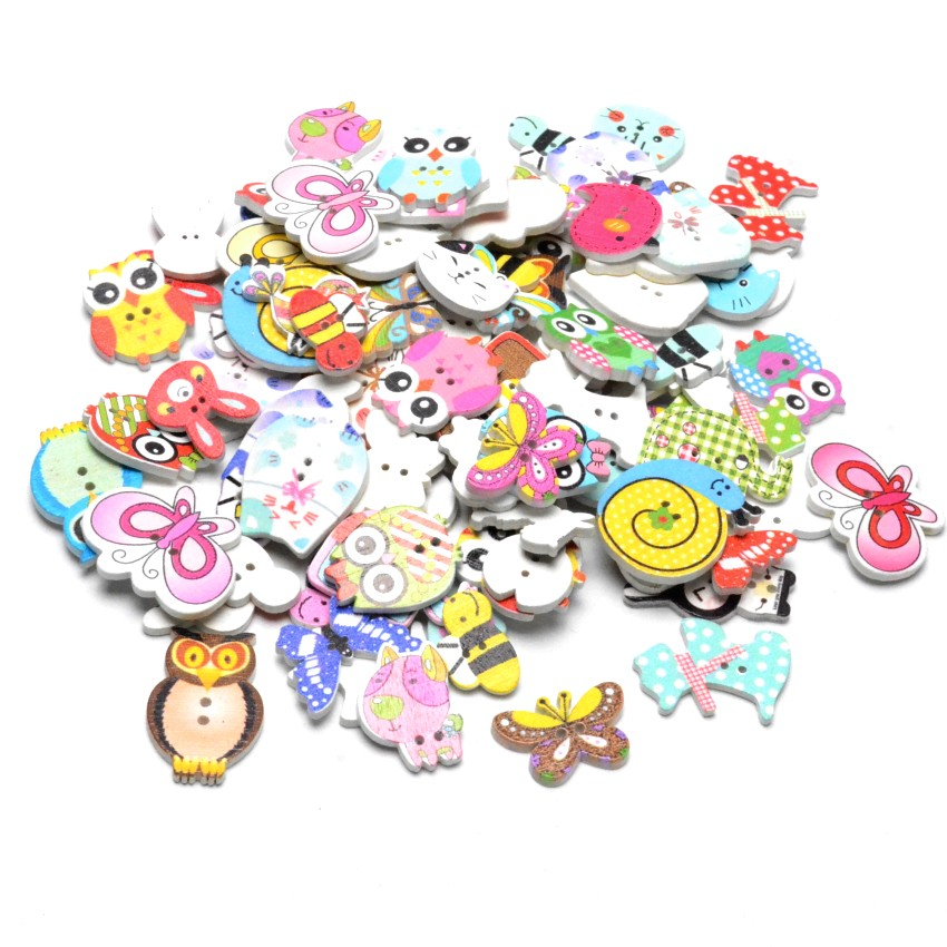50pcs 2 Hole Bear Wood Buttons Sewing Scrapbooking Decor Home Clothing 18x15mm