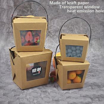 Fiambrera de papel kraft portátil, recipiente transparente para frutas, ensaladas y macarrones de 450ml/728ml/900ml/1260ml