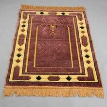 ผ้าขนสัตว์ชนิดหนึ่งเช่นหนาเสื่อสวดมนต์มุสลิม 70*110 ซม.ผ้าห่มประณีตตกแต่งห้องนอนแบบพกพา Namaz อิสลาม Praying เสื่อ