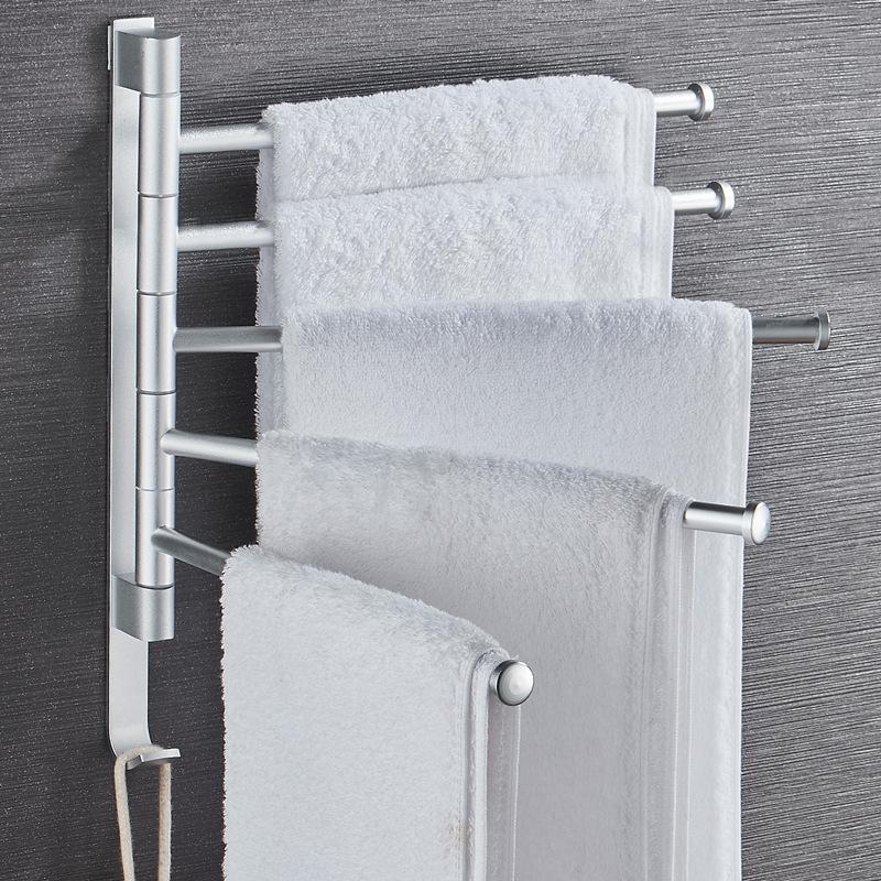 Hole-Punched Bathroom Towel Rack Rotatable Multi-bar Alumimum Bathroom Rack Wall Hangers Towel Bar Towel Rack