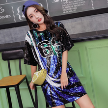 Casual Straight Geometric Short Sequined Fashion Sexy High Steet Number Round Neck Black Party Club Cocktail Dresses
