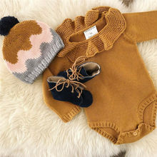 Autumn Winter Toddler Kid Baby Girls Knitting Wool Romper Sweater Peter pan Collar Knit Solid Jumpsuit Outfits 0-24M