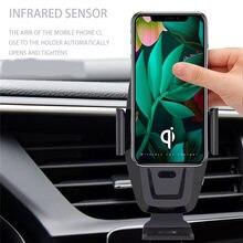 Coche inalámbrico teléfono titular titular teléfono infrarrojo rápido soporte de cargador coche carregador inteligente para iPhone
