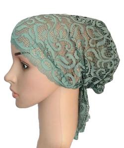 Image 3 - Flower Women Muslim Inner Cap Lace Head Wrap Cover Scarf Islamic Headwear Bonnet Hat Skullies Beanies Hair Loss Fashion