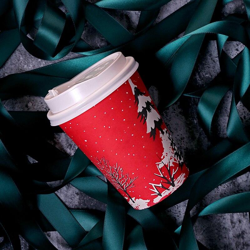 50pcs rouge jetable papier tasse 400 ml/500 ml noël fête faveur lait thé café boisson chaude tasse avec couvercle à emporter paquet