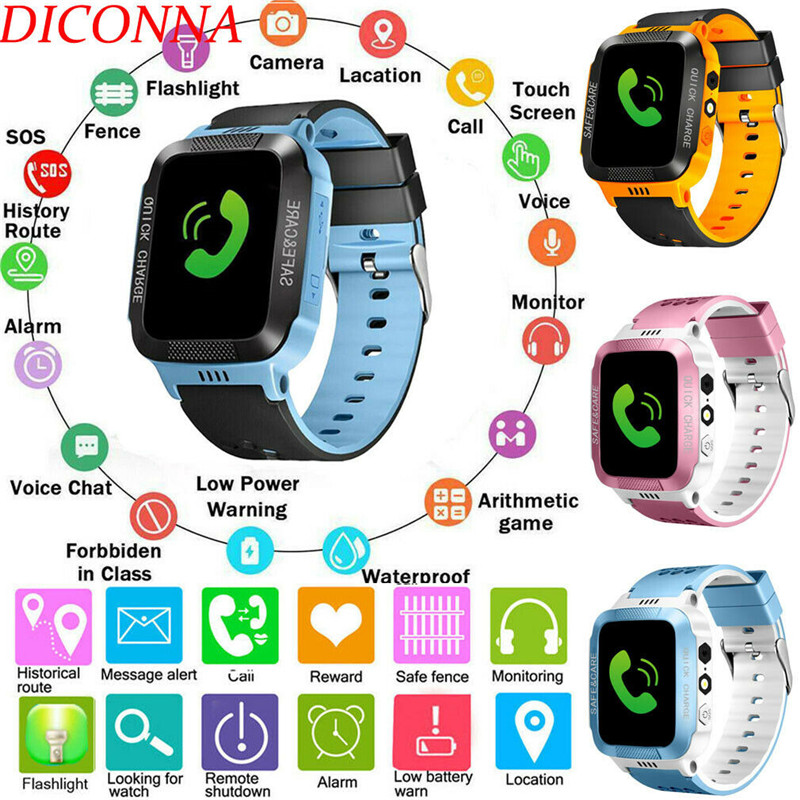 NEW Anti-lost Kids Safe Camera GPS Tracker SOS Call GSM Smart Watch Phone Fit Android IOS Touch Screen Digital