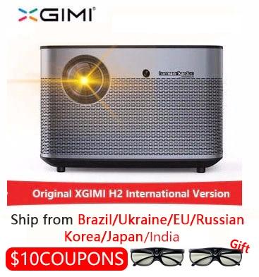 Xgimi h2 1920*1080 dlp completo projetor hd 1350 ansi lumens 3d projetor suporte 4 k android wifi bluetooth beamer