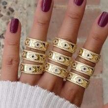 Gravado cz mal olho cor do ouro ampla banda de noivado anéis para senhora feminino festa presente dedo jóias clássico verão sorte anel