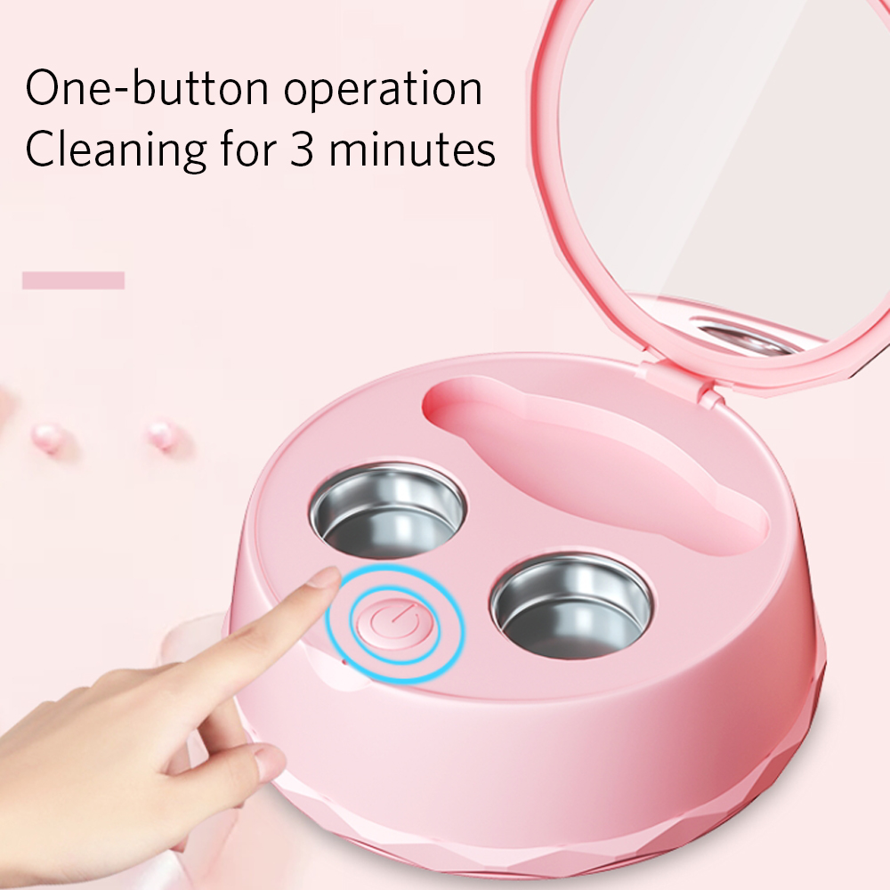 Free Shipping Portable Rechargeable Ultrasonic Contact Lens Cleaner Auto Daily Care Lenses Sonic Washing with travel carry case image