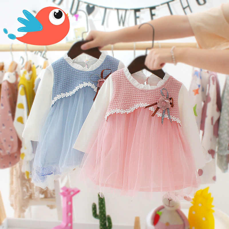 2019 Autumn Baby Dress Cotton Long Sleeve Infant Dress Fashion Baby Girls Clothes