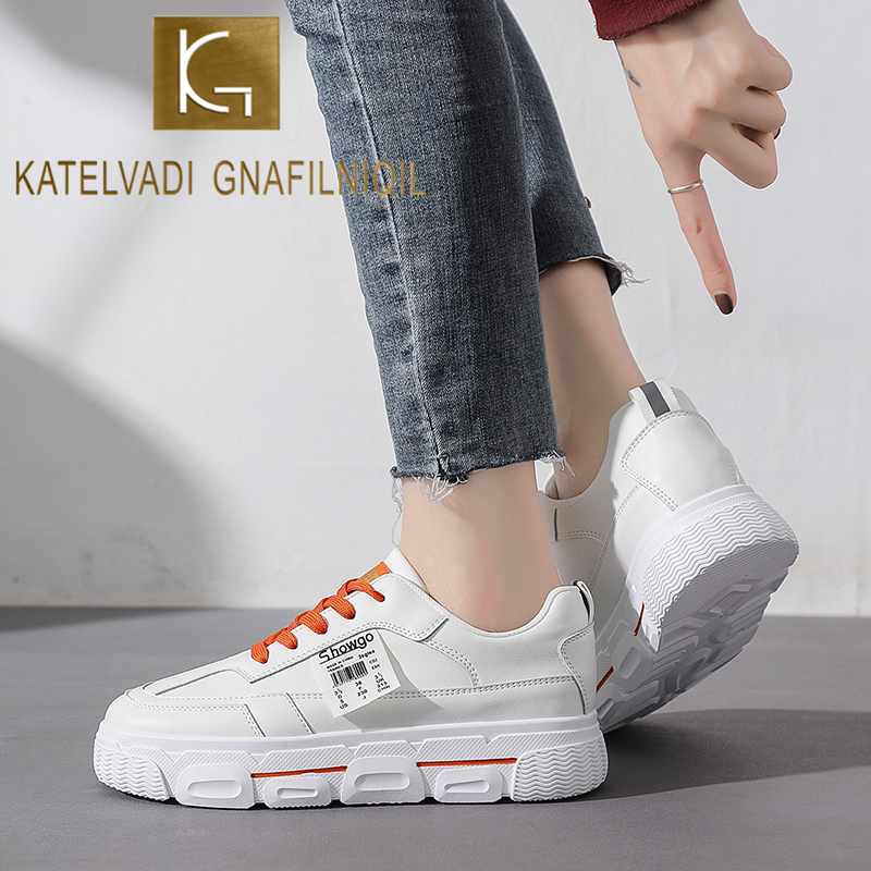 KATELVADI Women Casual Shoes Fashion Student Shoes Sneakers White Non Slip Footwear Breathable FL005
