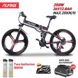 ALFINA FX80 EU Standards Electric Bicycle 36V12.8AH 250W Motor 25KM/h Folding Mountain Ebike Bicicleta Eletrica 26 Inch