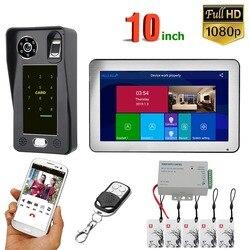 10 zoll Wifi Drahtlose Fingerprint IC Karte Video Tür Telefon Türklingel Intercom System mit Wired AHD 1080P Tür Zugang control S