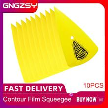 10pcsสีเหลืองContour Squeegeeสำหรับรถฟิล์มไวนิลหน้าต่างTintingเครื่องมือScraper Decalสติกเกอร์ฟอยล์ติดตั้งเครื่องมือ 10A13