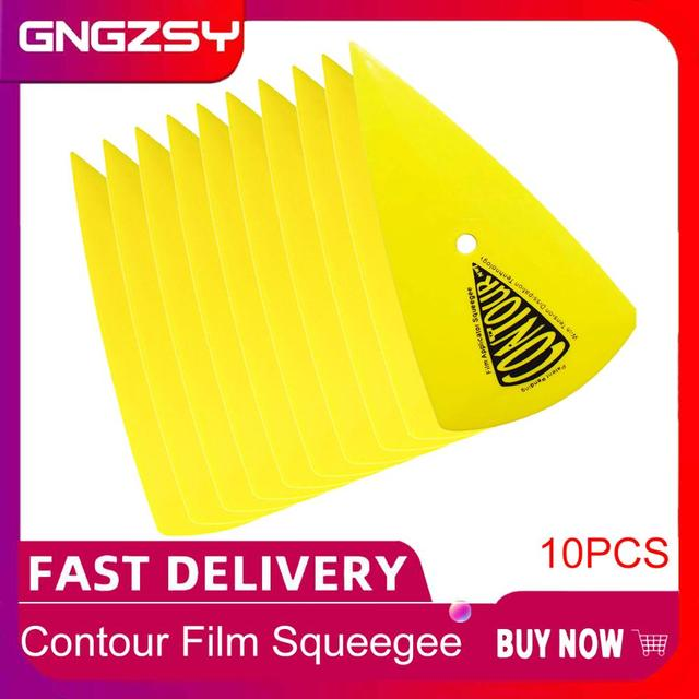 10pcs Yellow Contour Squeegee For Car Vinyl Film Window Tinting Tool Card Scraper Decal Sticker Foil Install tool 10A13