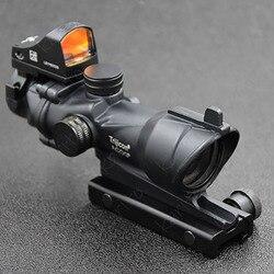 Тактический Acog Стиль 4x32 1x Red Dot прицел для Пикатинни База