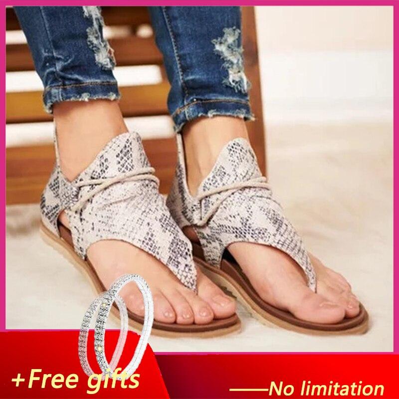 2020 Women Sandals Leopard Print Summer Shoes Women Large Size Sandals Flat Women Sandals Women Summer Shoes Sandals
