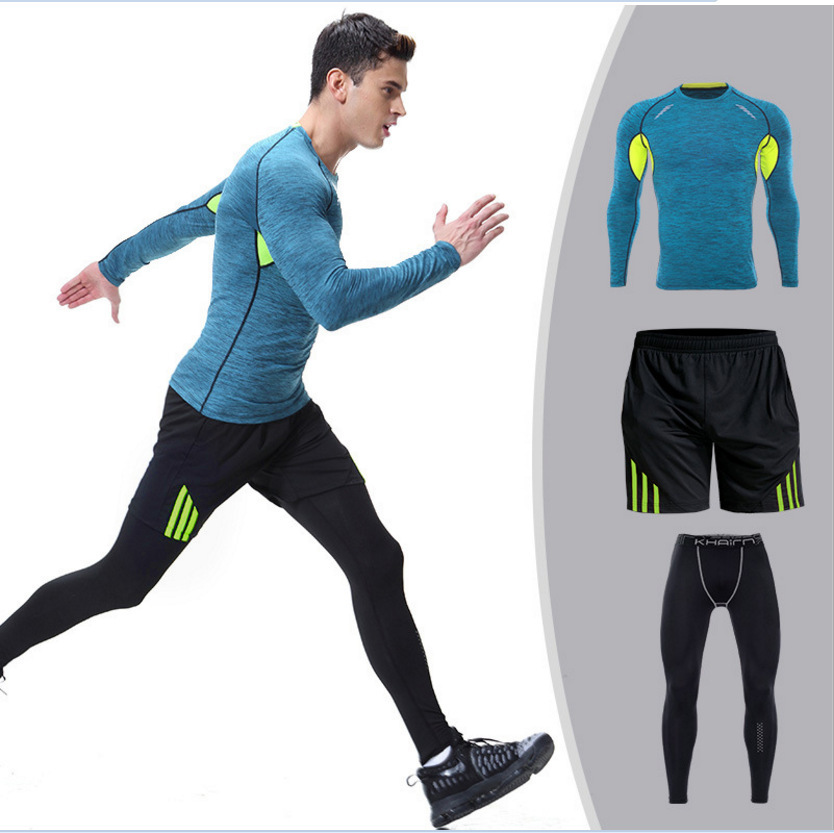 New Style Men Long Sleeve Fitness Clothing Three-piece Set AliExpress Supply Of Goods Long Sleeve Tight Fitness Suit Men's