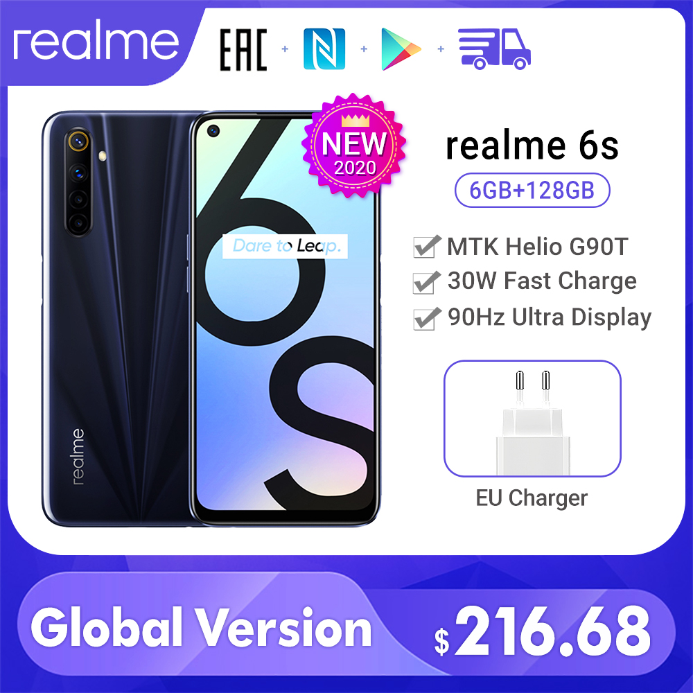 New realme 6s smart phone 6GB 128GB 90Hz 6.5inch FHD+Display Telephone 48MP Qual Cameras Android 4300mAh 30W changer