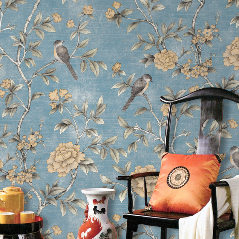 Chinese Style Floral Wallpaper Classical Pastoral Flowers Birds Wall Paper Red Yellow Blue Chinoiserie Retro Girls Bedroom