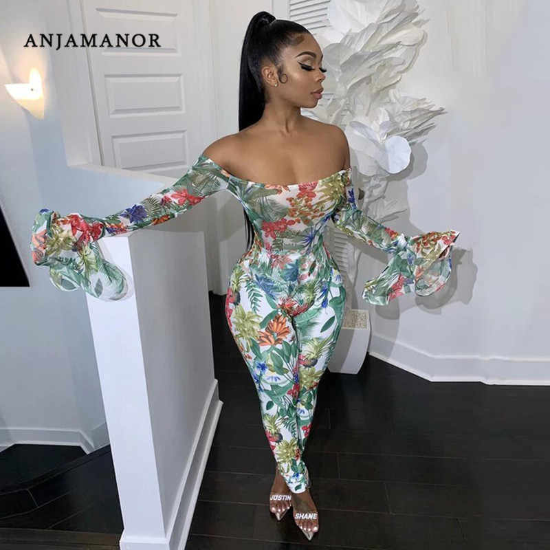 ANJAMANOR Floral Print Off Shoulder Flare Long Sleeve Bodycon Jumpsuit Sexy One Piece Women Clothes Party Romper Autumn D43-AE75