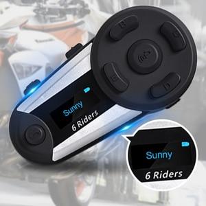 Image 3 - V6 plus 6 pilotos capacete da motocicleta bluetooth fone de ouvido 1200 m fm led interfone sem fio completo duplex