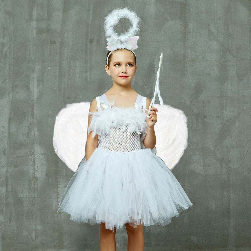 Guardian Angel Kids Halloween Costume White Feather Angel Girls Tutu Dress with Wings & Halo Christmas Nativity Gabriel Clothes (2)