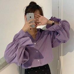 Camisa de manga larga para mujer 2019 otoño nuevo estilo suelto adelgazamiento cuello en V sentido del diseño elegante camisa Retro estilo coreano